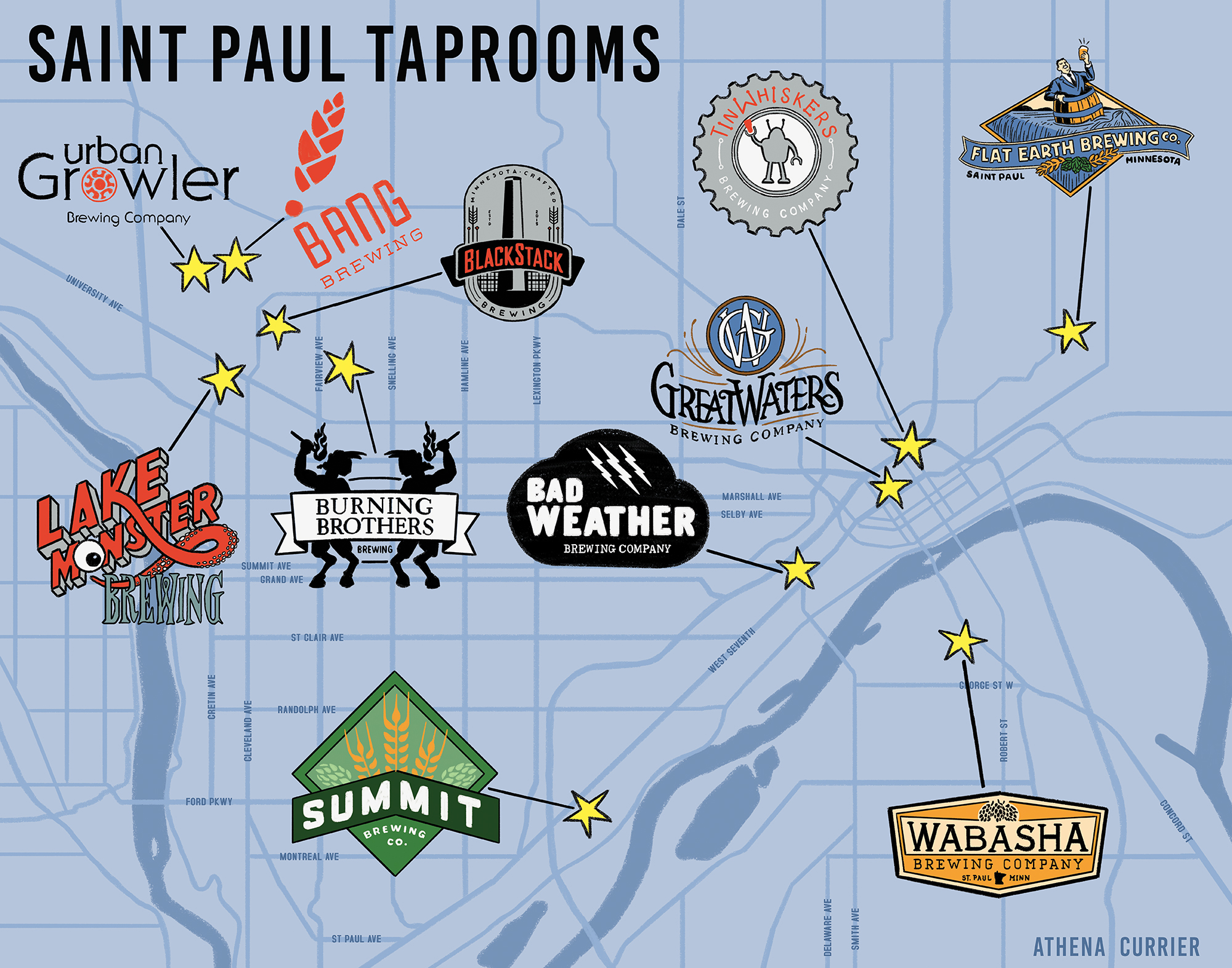Saint Paul Taprooms Map Updated